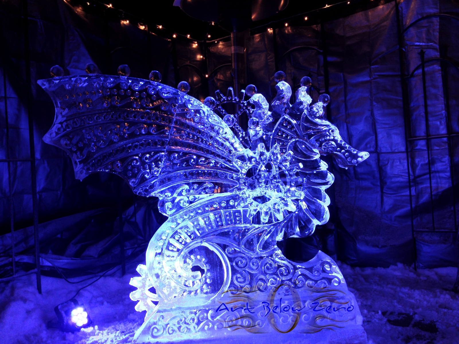 Winter festivals ice sculpture and performance by art