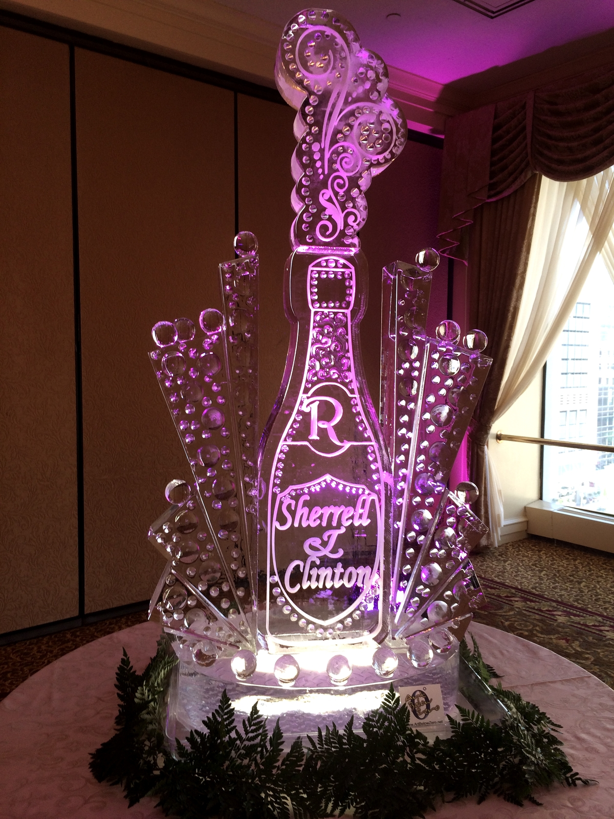 exploding champagne bottle wedding ice sculpture
